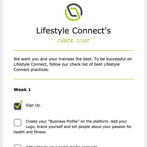 Lifestyle Connect checklist HTML email thumbnail
